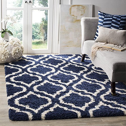 Safavieh Hudson Shag Collection SGH284C Navy and Ivory Moroccan Geometric Area Rug (5'1'' x 7'6'') by Safavieh