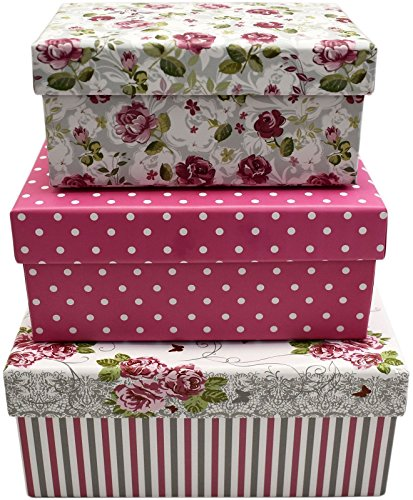 3 Set Elegant Themed Gift Boxes Decorative Pink Roses Nesting Box for Gift (Harry Potter Gift Wrapping Ideas)