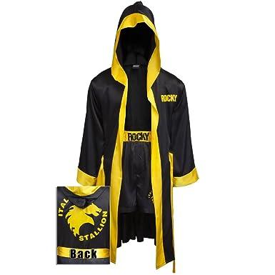 debcc7fe81 amazon com rocky balboa black movie italian stallion boxing robe rh amazon  com Girls Boxer Robes Hooded Robe