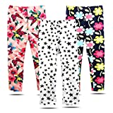 BOOPH 3 Pack Girls Pants Soft Stretchy Baby Toddler Girl Legging Flowers Stars Printing Kids Long Pant 4-5 Year
