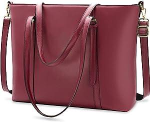 Laptop Bag for Women Lightweight Leather Work Tote Waterproof Business Office School Computer Bag for 15.6 Inch Laptop & Tablet Professional Large Capacity Briefcase Handbag Shoulder Bag Black Claret