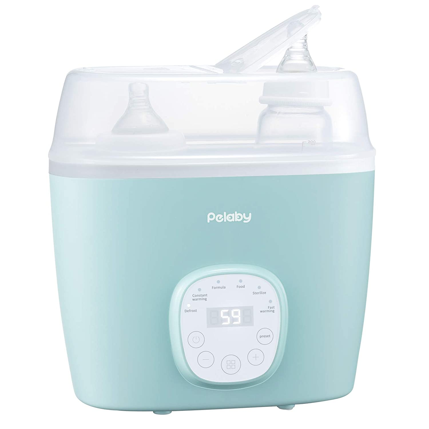 Baby Bottle Warmer Bottle Sterill-zer, Pelaby 6-in-1 BPA-Free Baby Food Heater with Timer, LCD Display, Temperature Control, Defrost Food, Fast Bottle Warmer for Baby Milk and Infant Formula