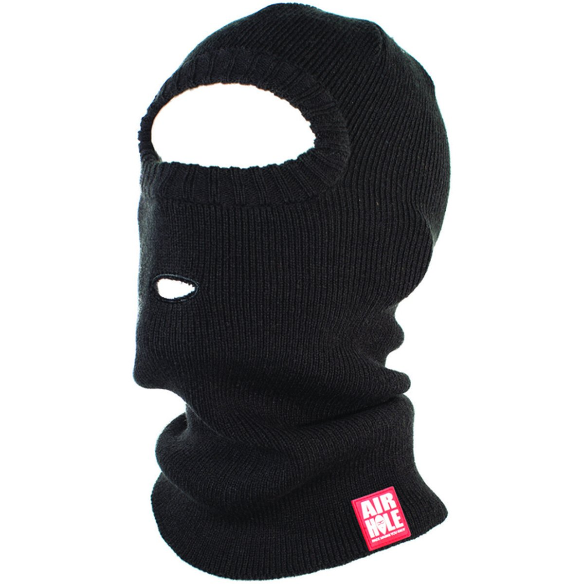 Airhole Adult Burgler Pullover Knit Balaclava Face Mask, Black, One Size