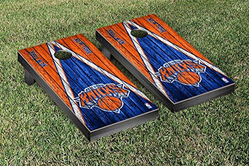 New York NYK Knicks NBA Basketball Regulation Cornhole Game Set Triangle Weathered Version by Victory Tailgate
