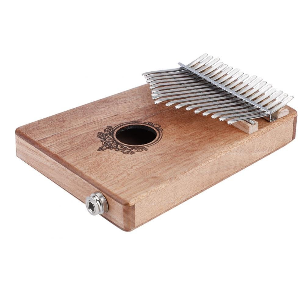 Green 17 Key Finger Piano Mahogany Portable Kalimba Pocket Size Piano with Build-in Pickup