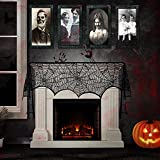 Funnideer Halloween Horrible Portrait Lenticular x4 and Black Lace Spiderweb Fireplace Mantle Scarf Cover x1, Halloween Props, Halloween Collection, Best Halloween Decoration