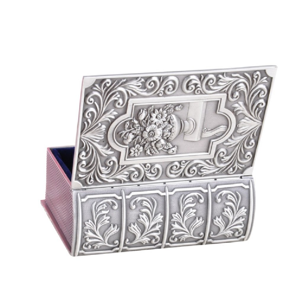 Decorative Vintage Antique Book Shape Jewelry Treasure Chest Box,Floral Engraved Metal Zinc Alloy Trinket Box Silver,Keepsake Gift Case for Home Decor Baby Tong