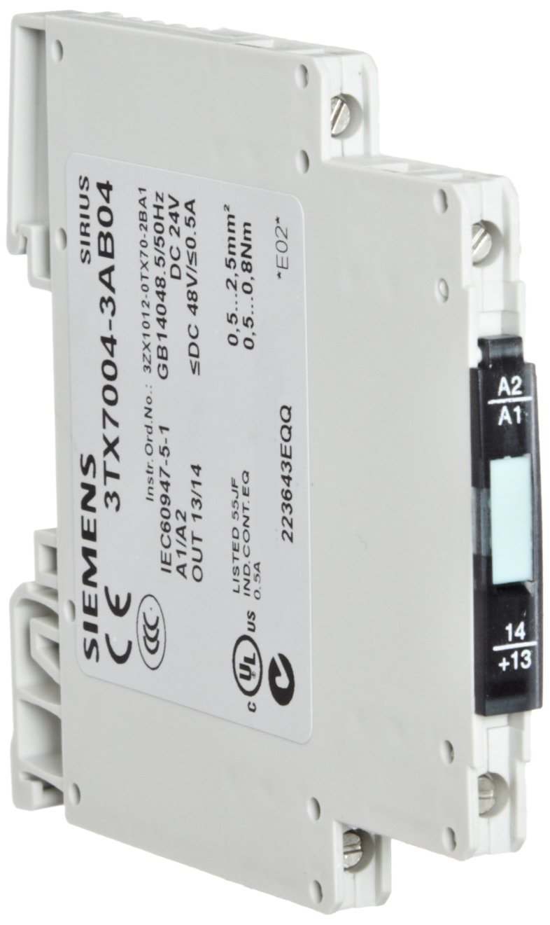 Siemens 3TX7004-3AB04 Interface Relay, Narrow Design, Output Interface With Semiconductor Output, Screw Terminal, 1 NO Contact, 6.2mm Width, 0.5A Max Switching Current,  48VDC Switching Voltage, Short-Circuit Proof Short Time Load Capacity