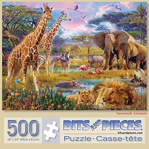 Bits and Pieces - Savannah Animals 500 Piece Jigsaw Puzzles for Adults - Each Puzzle Measures 18