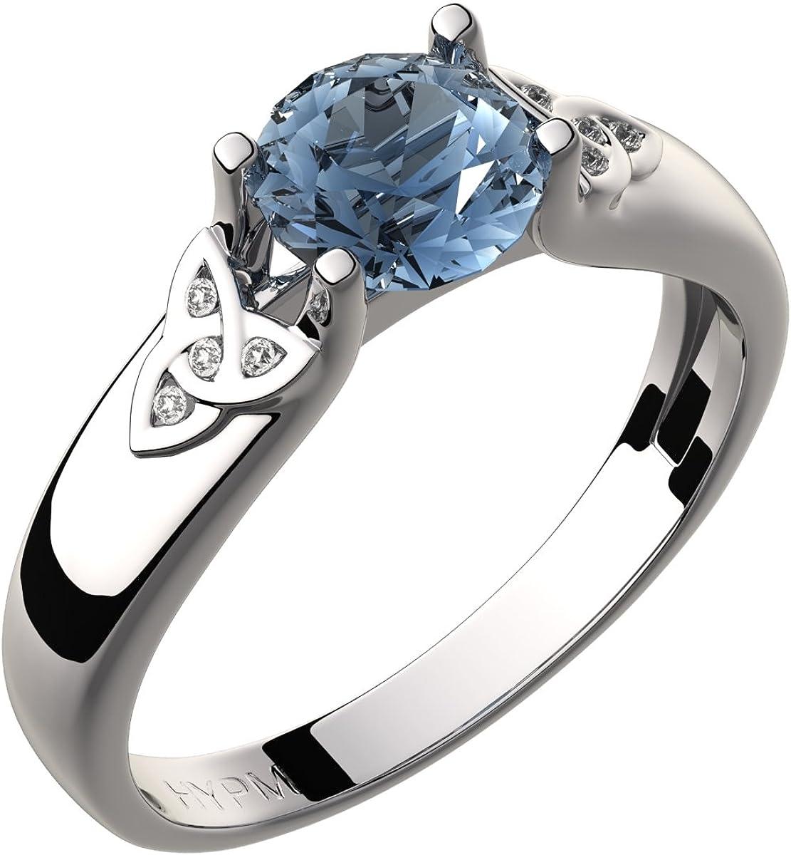 GWG Jewellery Anillos Mujer Regalo Anillo Celta Plata de Ley Circonita Grande de Color Aguamarina Azul Marino Adornado con Nudos de Trinidad Incrustados con Cristales para Mujeres
