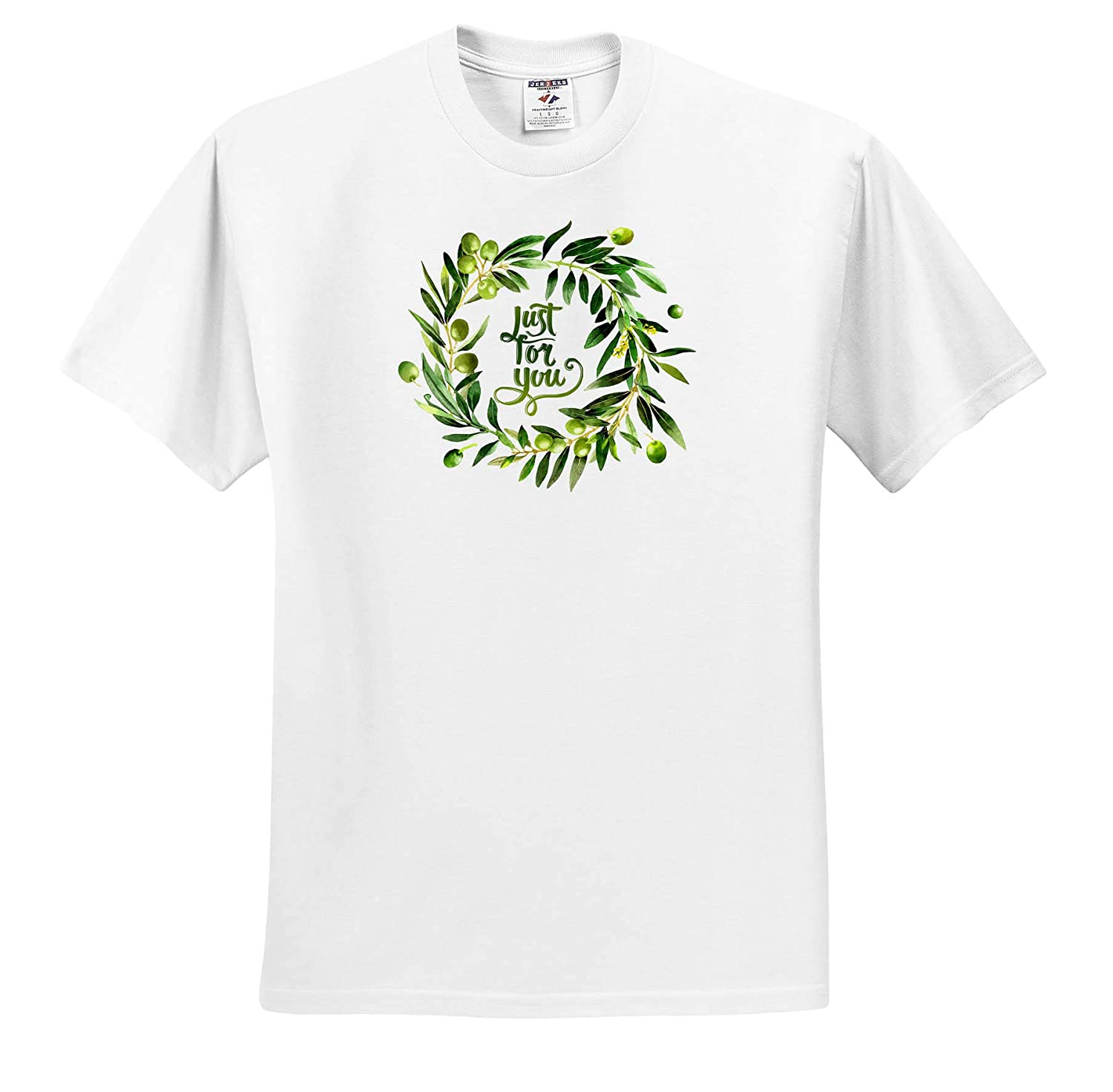 T-Shirts Watercolor Summer Olives Foliage Wreath Typography Just for You 3dRose Uta Naumann Sayings and Typography