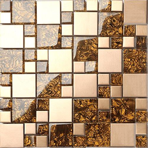 Glas Und Gebürstetem Edelstahl Mosaik Fliesen Matte In Gold MT - Mosaik fliesen braun gold