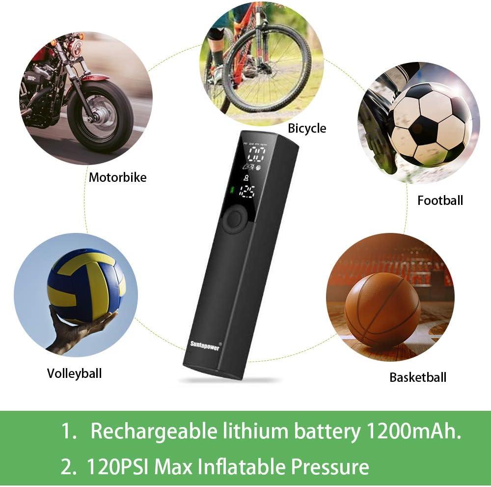 Suntapower Gonfleur de Pneus Portable Pompe /Électrique Polyvalente Intelligente pour Gonfler V/élo Motocyclettes et Diverses Balles