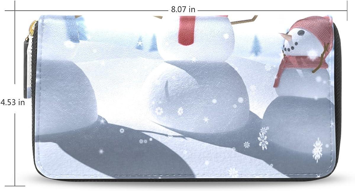 Womens Christmas Snowman Pattern Long Wallet /& Purse Case Card Holder