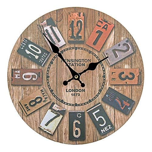 Vitaa 12 Inch Retro Wooden Wall Clock,Silent Non Ticking Decorative Wall Clock,Vintage Rustic Country Tuscan Style Round Wall Clock,Quartz Battery Operated(12 Inch) - License Plate Clock