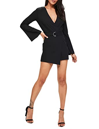 73aa6351dfc Amazon.com  Vero Viva Women s Deep V-Neck Asymmetrical Jumpsuit with Belt  Long Sleeve Romper  Clothing
