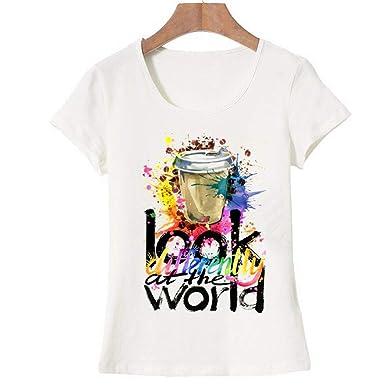 Coffee Cups Printing t-Shirt Short Sleeve Funny tee Shirts ...