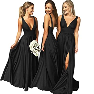 d9c2645e880 Bridesmaid Dress Long V Neck Backless Split Prom Dress Evening Gowns for  Women 2019 Black Size2