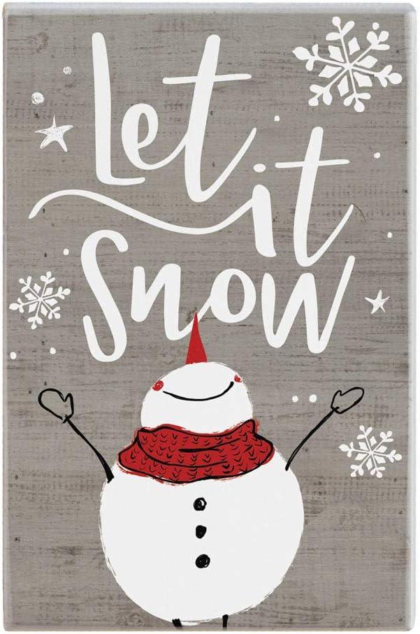 Sincere Surroundings Let it Snow Snowman Winter Wooden Shelt Sitter Sign