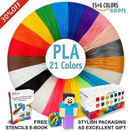 3D Pen Filament Refills - Premium Set of 21 Colors Bonus 200 Stencils EBook including 6 Glow in the Dark - Best 1.75mm PLA Filament Pack for 3D Pen by i3DPen