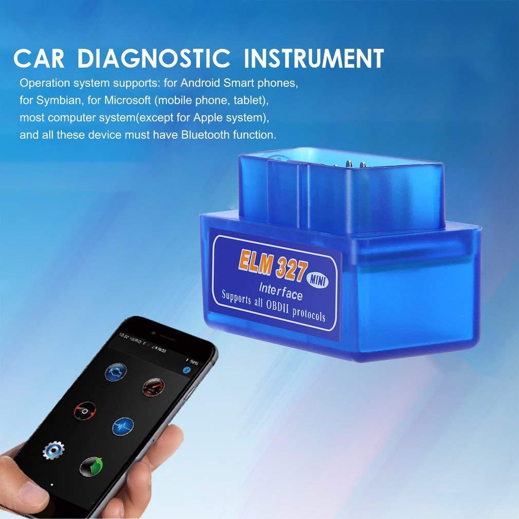73JohnPol Mini port/átil ELM327 V2.1 OBD2 II Diagn/óstico Auto Interfaz Esc/áner Azul Premium ABS Herramienta de diagn/óstico