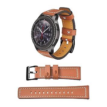 Samsung Gear S3 Frontier / Classic Correa de Reloj Piel, Memoru Pulseras de Repuesto Banda Correa de Reloj 22mm Cuero (Marrón) con Cierre de Hebilla ...
