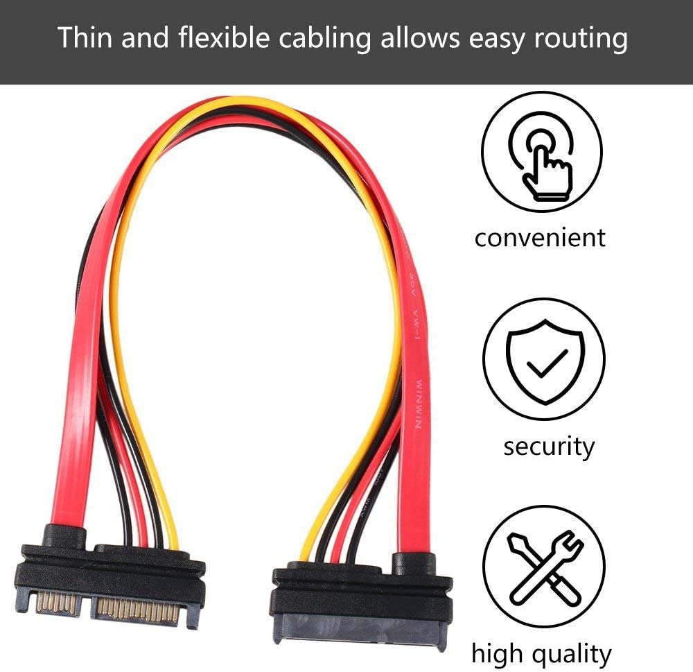 Jullynice 7+15 Pin Serial Sata Data Power Combo Extension Cable 1Pc Serial Power Adapter Cable Ta Sata to HDD Cable Sata Cable