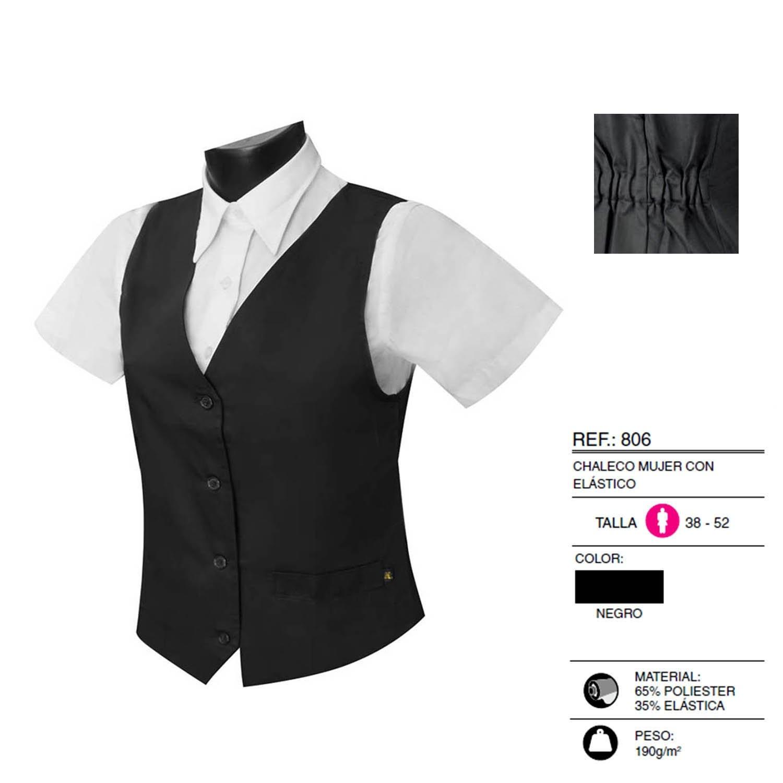 Black MISEMIYA Ref.806-44 Uniform Waitress Waistcoat Woman with Elastic