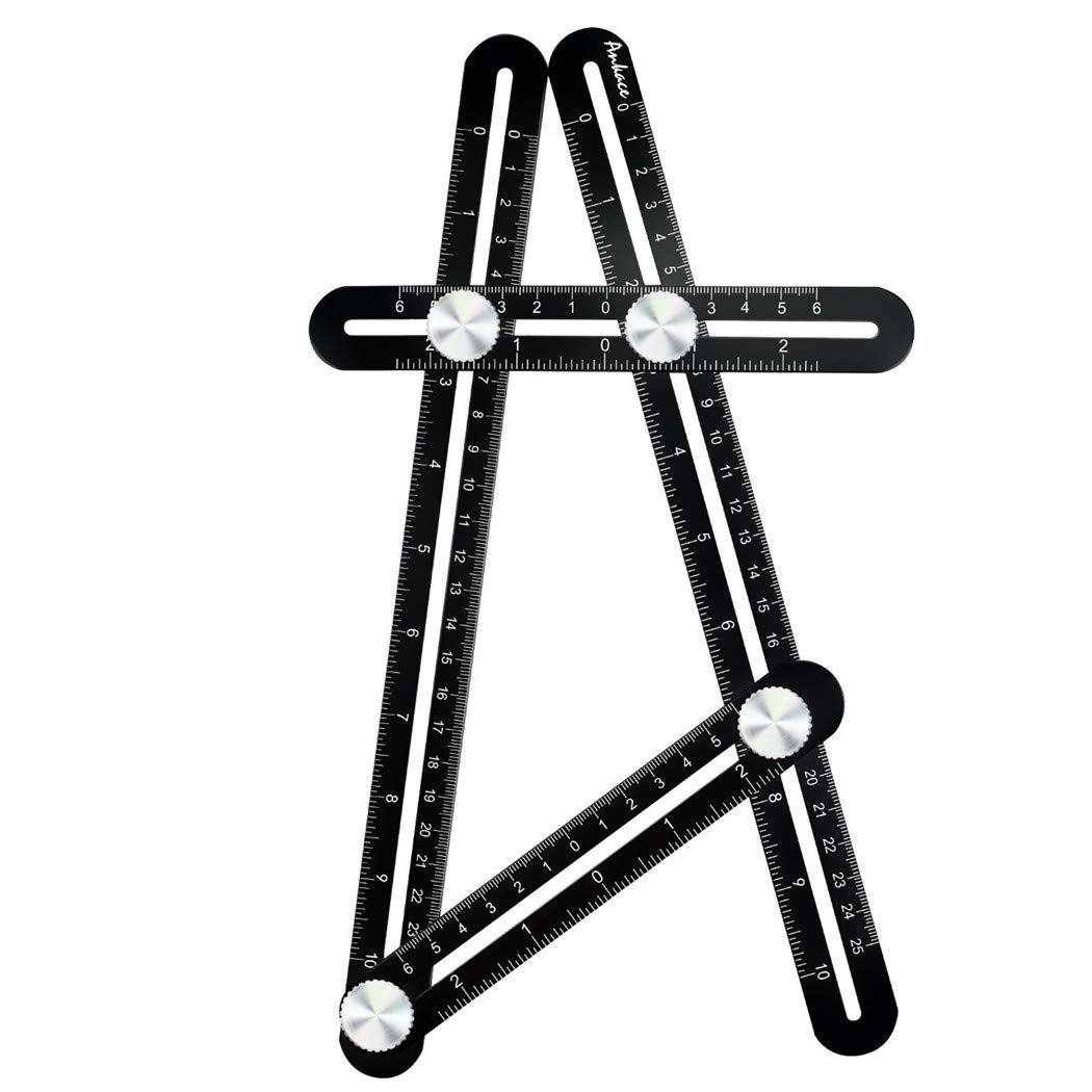 StyleZ Universal Multi-Angle Measuring Ruler Template Tool Full Aluminum Alloy Metal Four-sided Functional Ruler Black