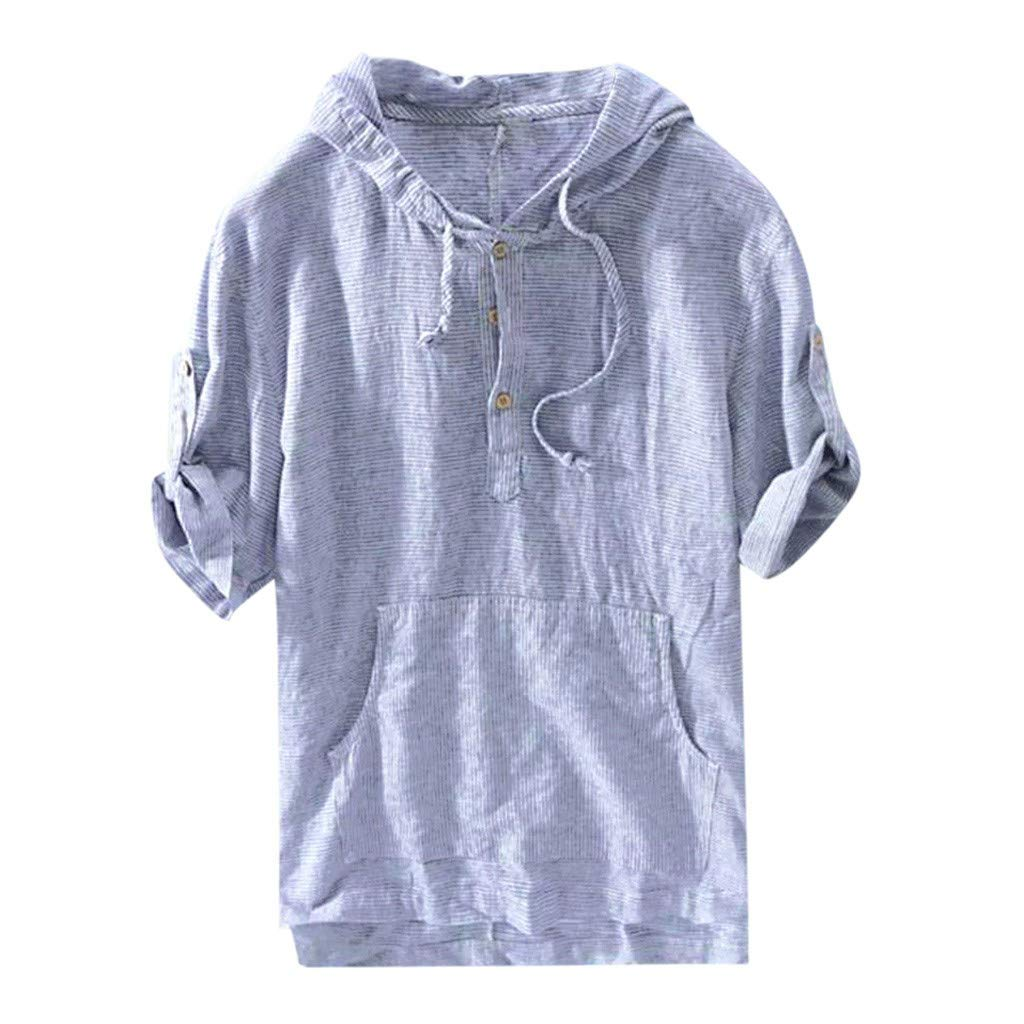 RoDeke Men's Shirts Short Sleeve Loose Casual T Shirts Tops Striped Solid Color Button Hooded Pocket Tank Tops M~3XL Blue