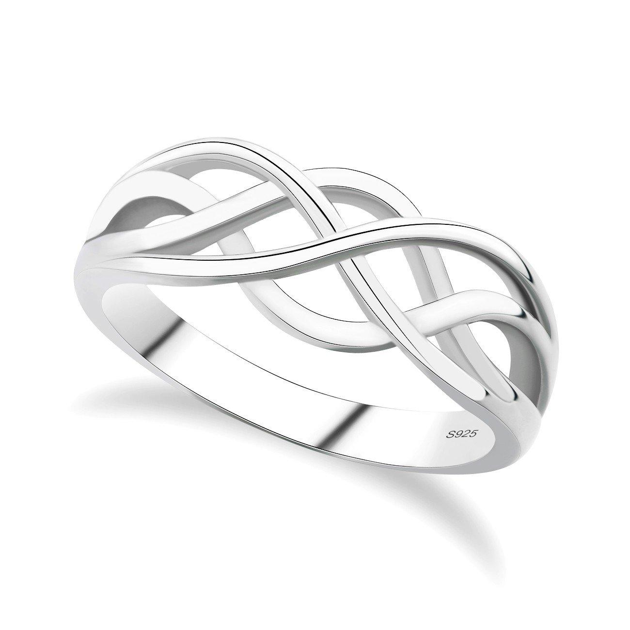 Gulicx nodo celtico amore eterno in argento Sterling 925anello filigrana wedding finger Ring, misura 1/2, K, L 1/2, m, N 1/21/21/2, o, P, Q, R, S, T, U, V 1/2, W Gelei Jewelry Co. Ltd. SR04