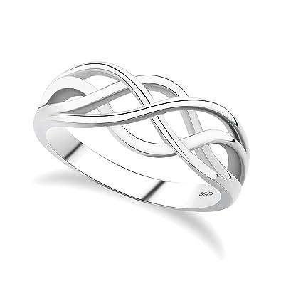 GULICX 925 Sterling Silver Ring Celtic Everlasting Love Knot Filigree Wedding Finger Size J 1
