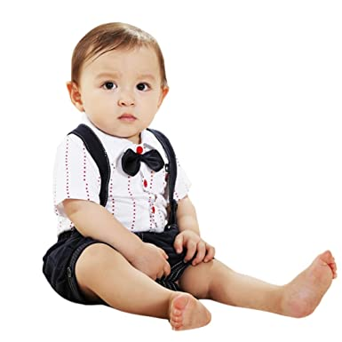 bc87933aca67 Baby Kids Boys Fashion Gentleman Bowtie Short Sleeve Shirts + ...