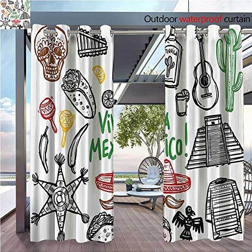 DESPKON Non-humidifying and Breathable Style Sketch Latin Object with Burritos Guitar Tequila Bottle Pinata Quetzal Coati for Elegant Floor-Down Window Decoration W108 x L84 INCH