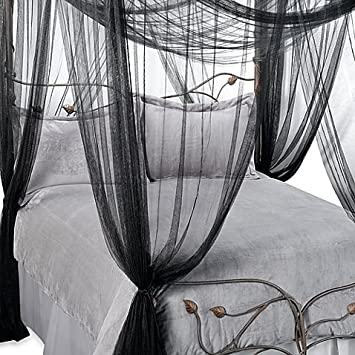 Majesty Sheer Mesh Bed Canopy Fits Up To A King Size Black