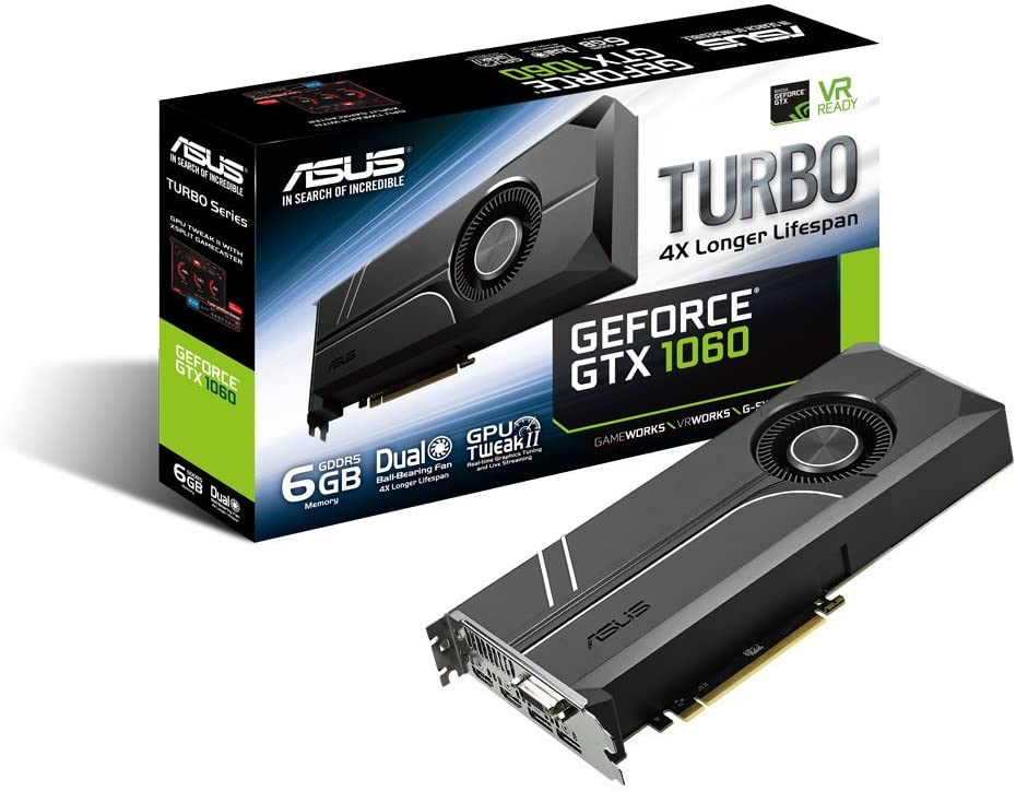 Asus TURBO-GTX1060-6G GeForce GTX 1060 Graphic Card - 1.51 GHz Core - 1.71 GHz Boost Clock - 6 GB GDDR5 - Dual Slot Space Required - 192 bit Bus Width - Fan Cooler - OpenGL 4.5-2 x DisplayPort - 2 x