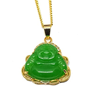 Amazon 14k gold finish iced out green jade buddha pendant 14k gold finish iced out green jade buddha pendant chain necklace mozeypictures Images
