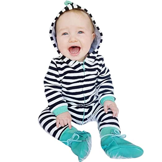 25e4888ea Amazon.com  KaiCran Baby Sleepers Cute Rompers Infant Newborn Baby ...