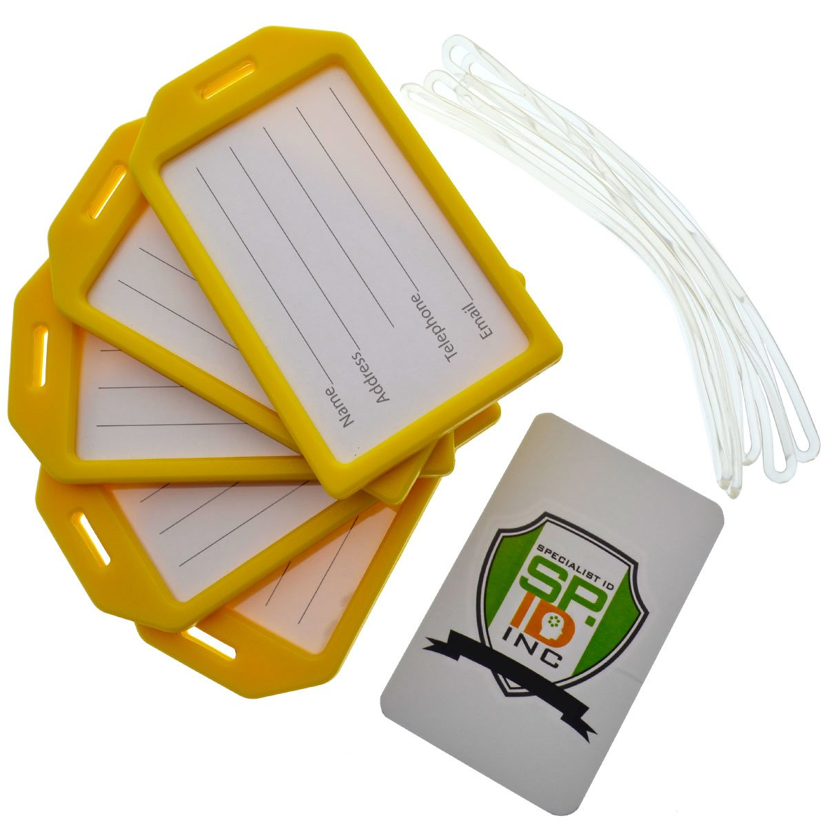 5 Pack of Premium Rigid Airline Luggage Tag Holders with 6'' Worm Loops by Specialist ID (Yellow) by Specialist ID (Image #1)