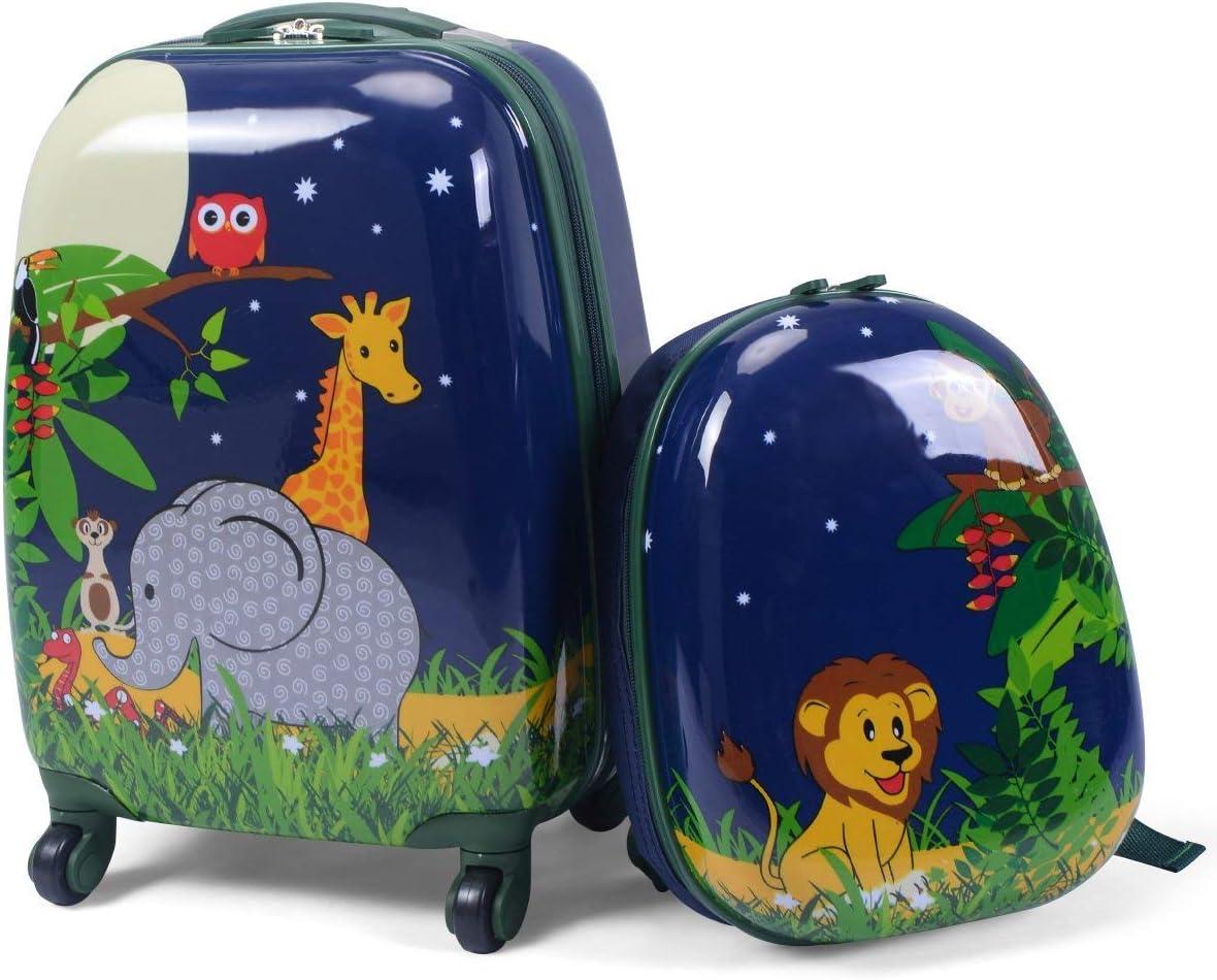 COSTWAY Niños Equipaje de Viaje con Mochila 2 Piezas Maleta para Infantil (Jungla)