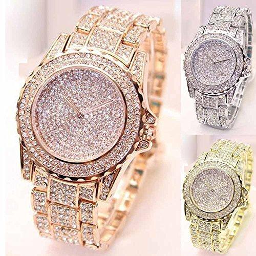 wSelio Round Luxury Women Watch,Crystal Rhinestone Diamond Watches, Stainless Steel Wristwatch (Silver)