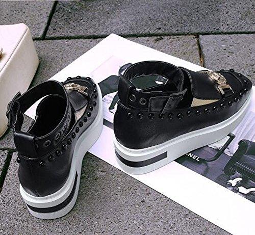 Easemax Kvinna Trendiga Nitar Buck Rem Runt Tå Plattform Mitten Kilklack Sneakers Svart