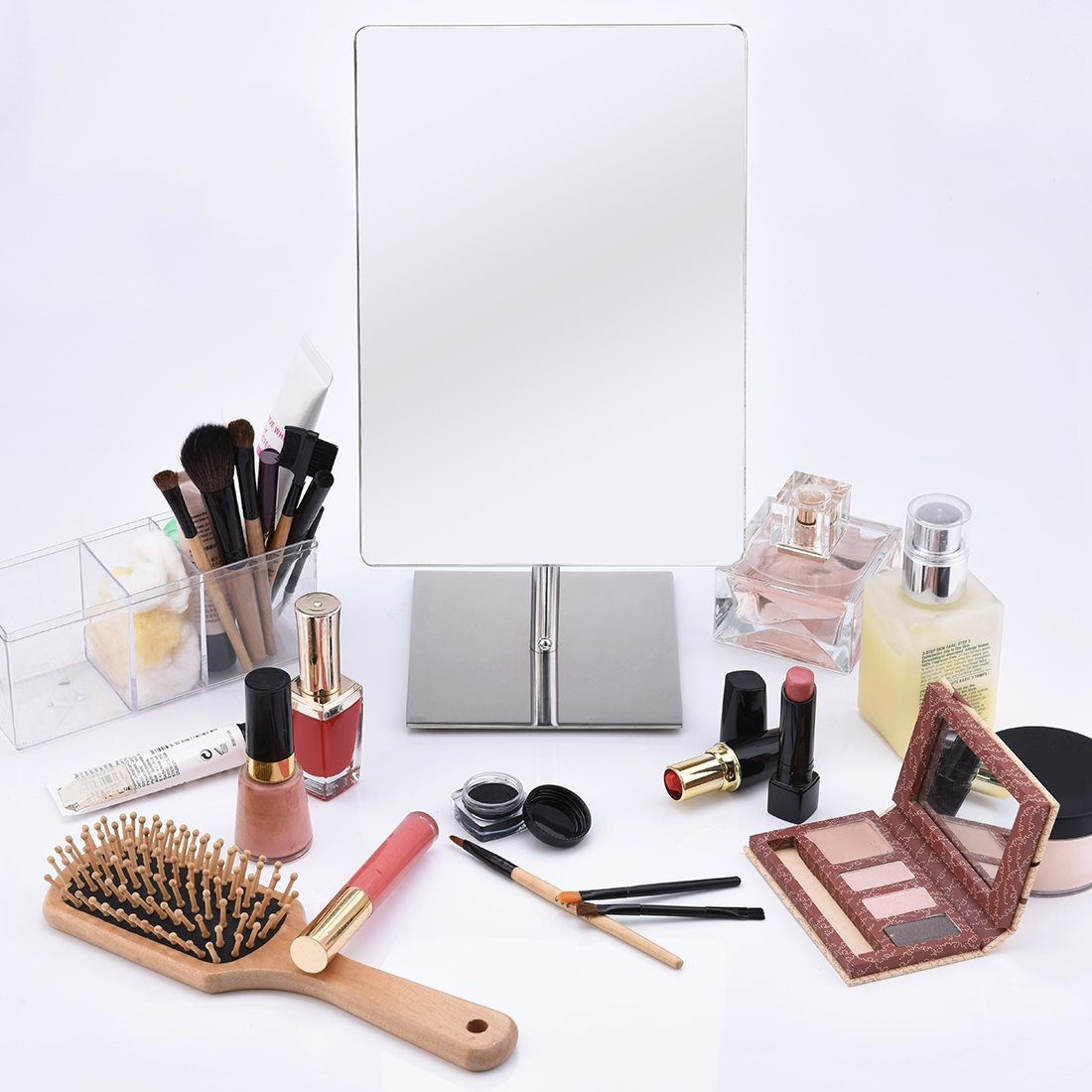 FIRMLOC Non-magnifying Vanity Mirror, Makeup Mirror Adjustable Rectangular Tabletop Mirror, Rectangular Glass Surface 9 inch x 6.5 inch, Portable Polished Chrome Contemporary Finished by FIRMLOC (Image #9)
