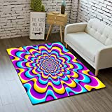 iBathRugs Door Mat Indoor Area Rugs Living Room Carpets Home Decor Rug Bedroom Floor Mats,Colorful Spirals Optical Expansion Illusion