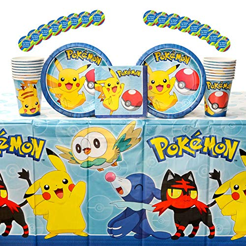 Pokemon Core Birthday Party Supplies Pack for 16 Guests: Stickers, Dessert Plates, Beverage Napkins, Table Cover, and -