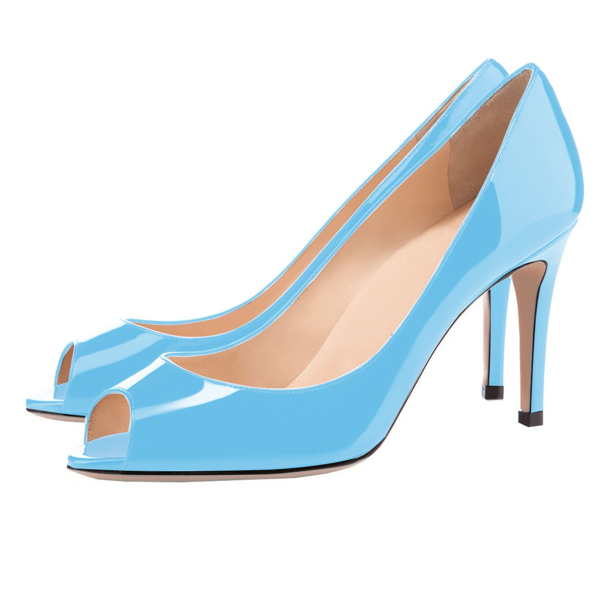Eldof Women Peep Toe Pumps Mid-Heel Pumps Formal Wedding Bridal Classic Heel Open Toe Stiletto B07F1N354Q 5 B(M) US|Blue