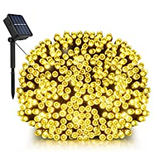 Solar String Lights, LDesign 72ft 200 LED Bright Solar Decorative Romantic Powered Starry Fairy Lights Waterproof(IP65) Outdoor Indoor String Lights for Garden, Home, Christmas Party, Wedding, Dancing, Holiday, Mall,Xmas Tree-8 Modes Warm White