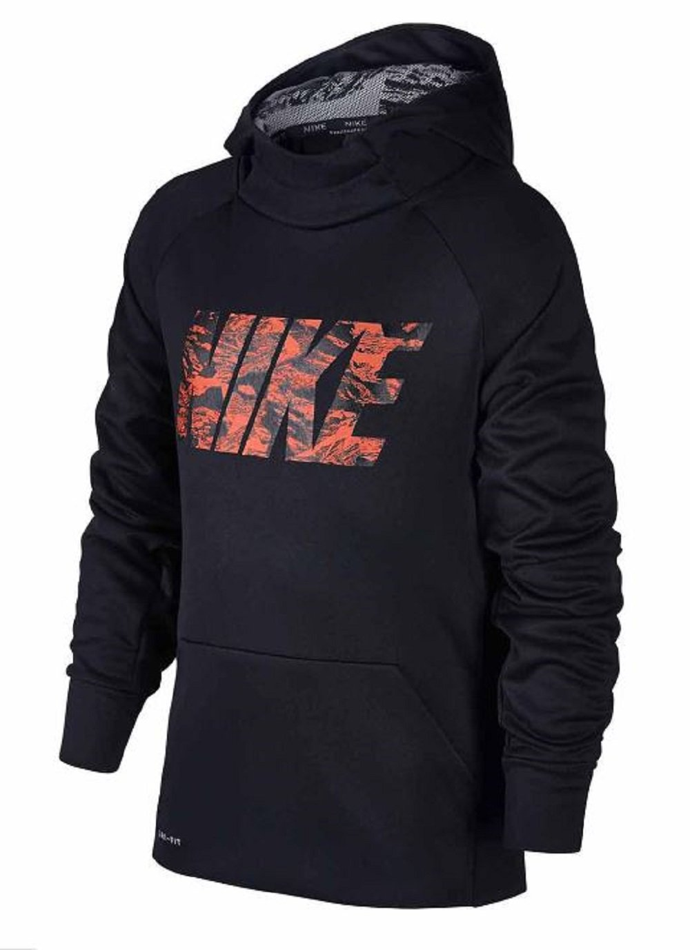 NIKE Boy's Therma Training Hoodie (Black/Orange, Medium)