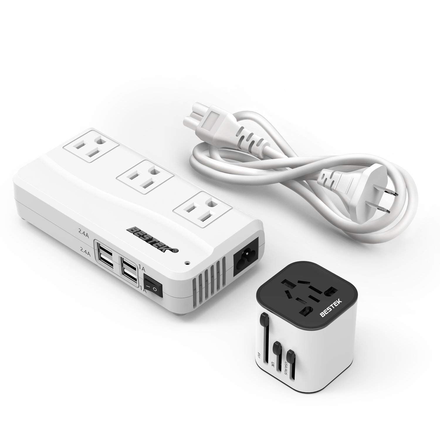 BESTEK Voltage Converter 220V to 110V Converter with 6A 4 USB Ports and UK/AU/US/EU Travel Adapter, Carrying Bag Included BHBUSWA809