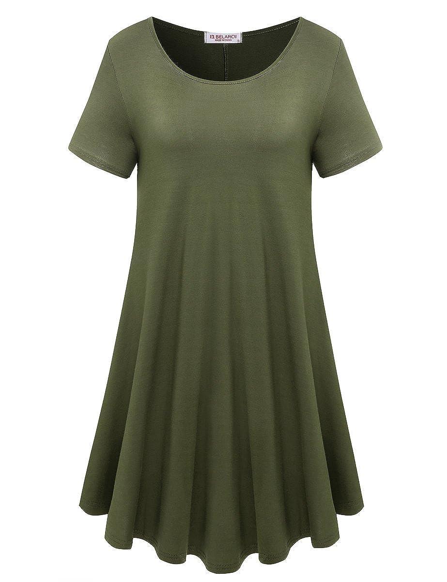 5f41b28d43 BELAROI Womens Comfy Swing Tunic Short Sleeve Solid T-Shirt Dress at Amazon  Women s Clothing store